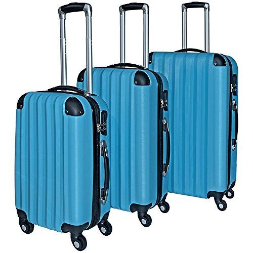 3piezas. Rígida enkoffer Juego Hard Shell Basic +–Maleta rígida de candado Maleta viaje para maleta de viaje Set equipaje Roll maletín goma Zwilling rollo Dura de Plástico ABS mango telescópico de aluminio color a elegir, Azul, 102381