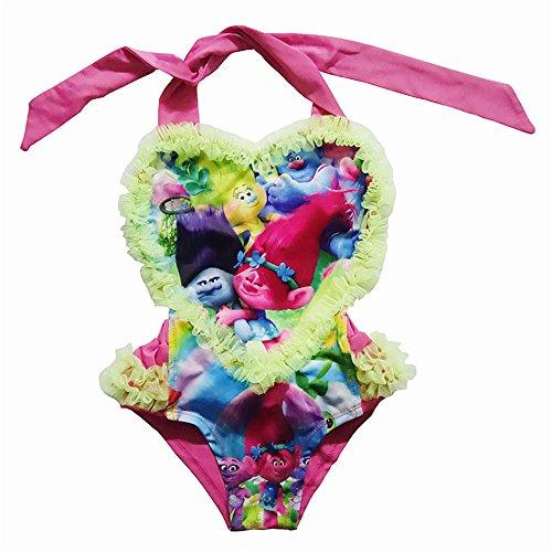 Troll Kostüm Halloween 2 - Mebeauty Kinder Mädchen Badeanzug Mädchen Herz Form Trolle Einteilige Badeanzug Karton Prinzessin Bademode Badeanzüge 3-10 Jahre Kind Netter bunter Schwimmen-Kostüm-Badeanzug (Größe : 140)