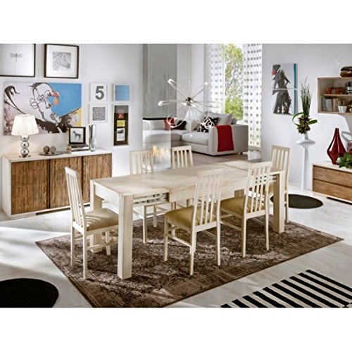 Estense – Table Extensible en Bois Massif Blanchi decape '140 x 90 All- ou 160 x 90 l – 3260 a-3275 a