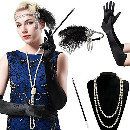 Halloween 3 Für Kostüm Erwachsene Ideen (BABEYOND 1920s Flapper Set Damen Gatsby Kostüm Accessoires Set inklusive Stirnband Halskette Handschuhe Zigarettenhalter)