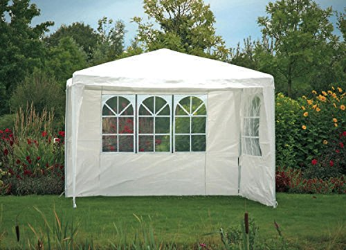Fachhandel Plus Seitenteile 2 Stück á 3 m mit Fenster weiß für Pavillon Seitenwand Zubehör