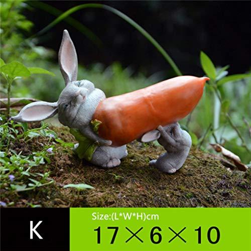 -Statuen aus Kunstharz, Garten-Landschaftsdekoration, Handarbeitsgeschenk, niedliche Hasenfiguren, K, 6.69 * 2.36 * 3.94