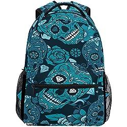 Calaveras mexicanas y flores, mochila escolar impermeable