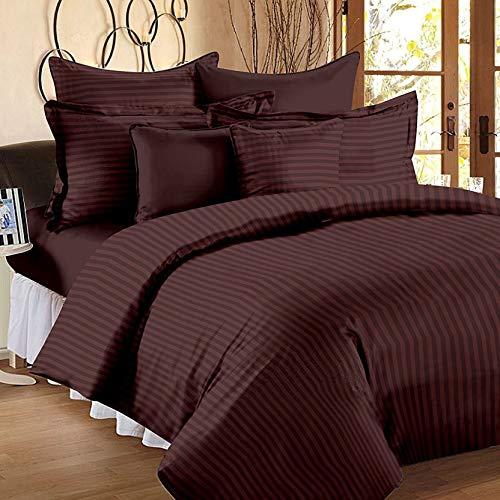 Aarv Linen Bettwäsche-Set für King-Size-Betten, Streifen, Fadenzahl 800, 100% Baumwolle, Dunkelbraun