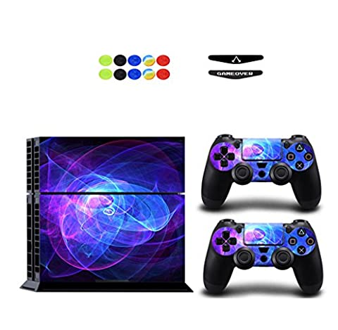 Skin for PS4, Chickwin Vinyl Skin Full Body Cover Sticker Decal For Sony Playstation 4 Console & 2 Dualshock Controller Skins + 10pc Silicone Thumb Grips + 2pc Random Light Bar (Coils Purple)