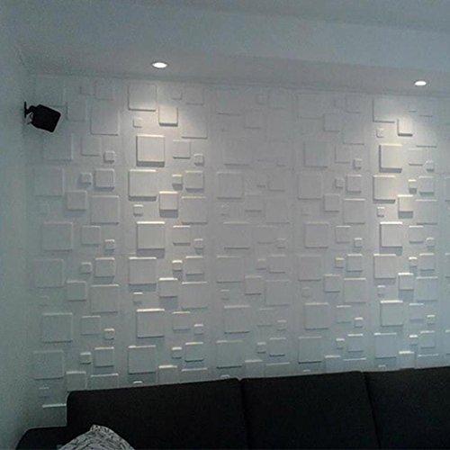 sunnymi 30X30X0.8cm PE Foam Wall Stickers Patterns Wallpaper DIY Wall Decor Brick Schaum Tapete Für Living Room Kids Bedroom (Groß Klein Platz, weiß)