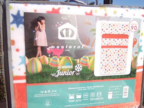 Manterol Juego de sábanas de Invierno Coralina Estrellas para Cama de 90 cm