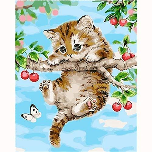 Kostüm & Naughty Nette - YIZHL malen nach Zahlen Erwachsene,Naughty Cat Schöne Bild Malerei Cartoon Malen nach Zahlen Moderne Wandkunst Acrylbild Handgemalte Kinder Geschenk