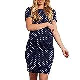 Kleider Damen Elegant LHWY Schwangere Frau Abendkleid Vintage Welle Punkte Minikleid Kurzarm Multifunktions Kleid Rundhalsausschnitt Mode Kleid Sommer (S/34-36, Navy)