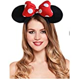 Majik Mickey Mouse Minnie Mouse Ears Headband Hairband Costume Accessory For Kids, Red- Black, 15 Gram, Pack Of 1