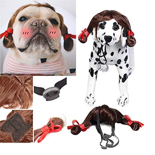 Pet Perücken für Hunde Katzen Kostüm Zubehör Lustige Cosplay für Groß Mittel Klein Haustiere (Braid - Kaninchen Kostüm Für Hunde