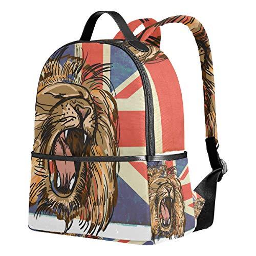 Ahomy Rucksack mit Löwen und Union Jack, für Mädchen und Jungen