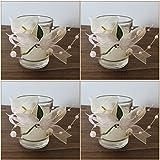 K7plus® 4er Teelicht mit Kerze im Glas mit Schleifen und Perlen - 4 x Calla - wunderschöne weisse Tischdeko für Hochzeiten, Feiern, Feste (4 x Calla im Glas)