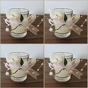 k7plus 4er teelicht mit kerze im glas mit schleifen und perlen 4 x calla. Black Bedroom Furniture Sets. Home Design Ideas