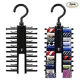 Zhen+ 2 Stücke Krawattenhalter 360 Grad Drehbar Tie Clips für