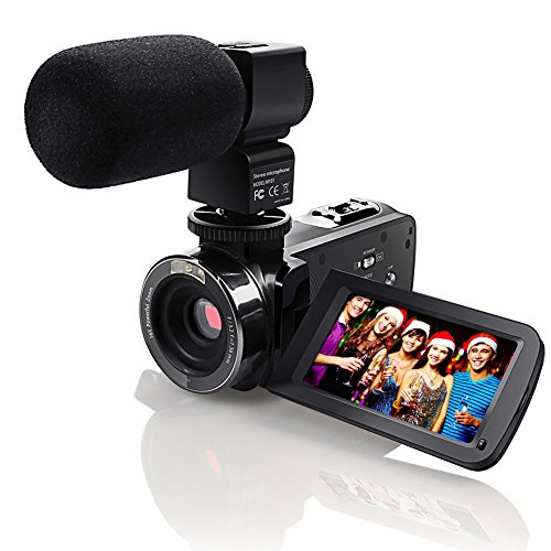 Video Camcorder,Eamplest Full HD 1080P 24MP IR Infrared Night Vision Camera Camcorder with 16X Digital Zoom, 3 Inch LCD 270 Degree Touch Screen Video Recorder With External Microphone (301M)
