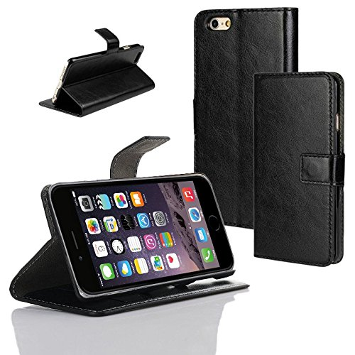 Schutz Hülle für Apple iPhone 6 Tasche Smartphone Flip Case Slim Cover Etui Bag, Farben:Schwarz Schwarz