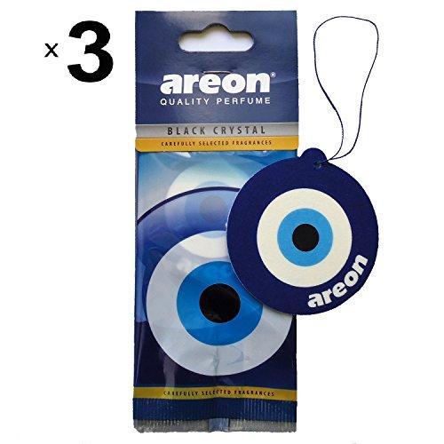 AREON Auto Lufterfrischer Schwarz Kristall Blau Auge Anhänger Hängend zum Aufhängen Spiegel Duft Autoduft Nazar Amulett Pappe 2D Wohnung Büro Set (Black Crystal Blue Eye Pack x 3)