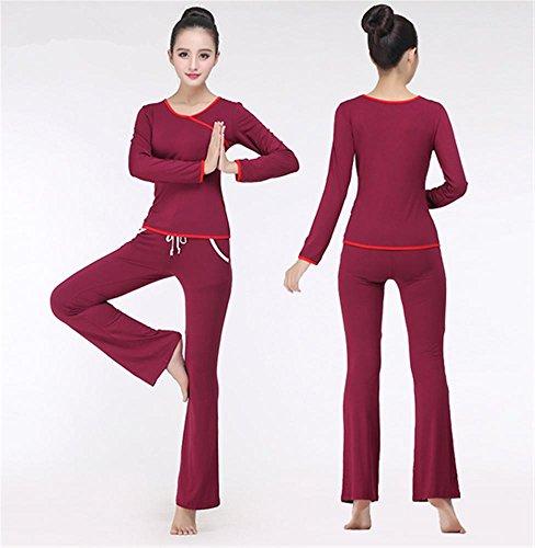 Femmes à manches longues yoga porter costume / vêtements d'entraînement confortable vin red