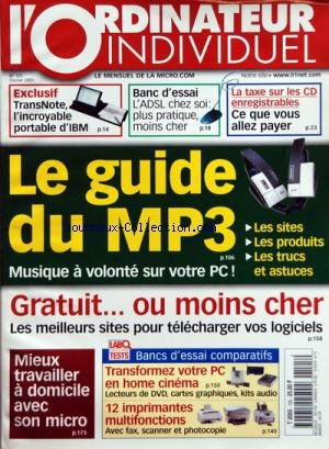 ORDINATEUR INDIVIDUEL (L') [No 125] du 01/01/2001 - - LE GUIDE DU MP3 - MIEUX TRAVAILLER A DOMICILE AVEC SON MICRO - BANCS D'ESSAI COMPARATIFS - TRANSNOTE - L'INCROYABLE PORTABLE D'IBM - L'ADSL CHEZ SOI - LA TAXE SUR LES CD ENREGISTRABLES