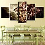5 Aufeinanderfolgende Gemälde Auf Leinwand Fotos Hd Modulare Leinwand Drucken Malerei 5 Stücke Lion Wild Animal Moderne Dekoration Für Wohnzimmer Wandkunst Poster Frameless