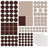 Meubles Patins en feutre, 322Lot Premium Autocollant Patins en feutre pour meubles, chaise, protection de sol Incluent 2x 100clair Coussinets en caoutchouc (Beige et marron)