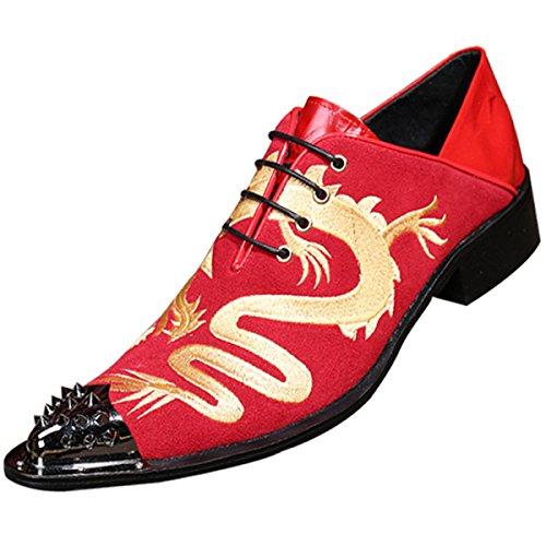 QVRGE Personnalité Des Hommes Angleterre Souliers Simples Chaussures De Mode En Dentelle red