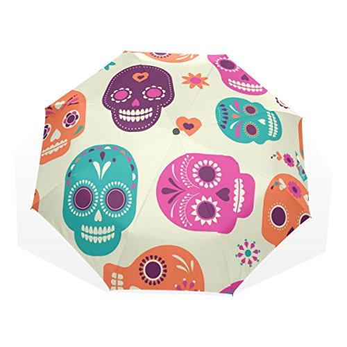 GUKENQ - Paraguas de Viaje con diseño de Calavera Mexicana para el día de los Muertos, Ligero, Anti Rayos UV, para Hombres, Mujeres y niños, Resistente al Viento, Plegable, Paraguas Compacto