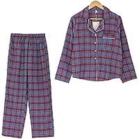 DUKUNKUN PijamaDe CuadrosVintage2 Piezas Traje De Cuadros Homewear Pijamas-S