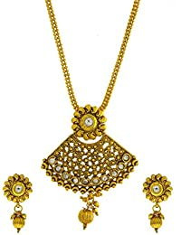 Anuradha Art Gold Finish Styled With White Colour Stones Traditional Pendant Set For Women/Girls - B0745G634J