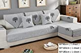 Z&HX-Sofaüberwurf Ecksofa Set 3 + 2 Sitzer, Hanf, Wohnzimmer, Verschleißfest, Anti Verschmutzt/Import,Grey2,A