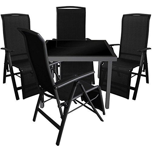 Multistore 2002 5tlg. Gartengarnitur Glastisch 90x90cm Tisch mit schwarzer Glasplatte inkl. schwarzer Klappsessel mit 2x1 Textilenbespannung 5-Fach verstellbar Gartenmöbel Set