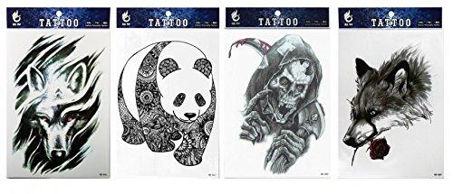 Sah Bar (Spestyle wasserdichte und ungiftige Tattoo 4pcs mischt Tier gefälschte Temp Tattoo Aufkleber in einem Pakete, einschließlich Bär, Wolf, Wolf und Schädeltätowierung)
