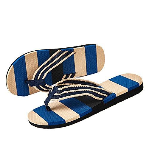 Herren Classic Zehentrenner Sandalen Streifen Gurt Leicht Flip Flops Schwarz Blau 39-45 Blau