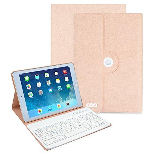 Funda con teclado nuevo ipad 2017 9.7, COO 360 grados soporte giratorio cuero de la PU cubierta con teclado Bluetooth extraíble para nuevo ipad 2017 9.7 ,ipad Air 1/2, ipad pro 9.7 (9.7 inch, Champán)