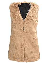 TOOGOO(R) Women Faux Fur Gilet Vest Jacket Mid-long Outwear Waistcoat Brown XXXL