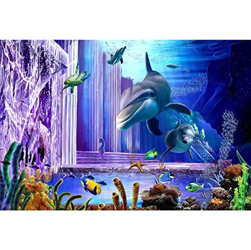 OERJU 1,5x1m Unterwasser Welt Hintergrund Schildkröte Seepferdchen Delphin Steinsäule Unterwasser Hintergrund Party Poster Banner Dekorationen Geburtstag Hochzeit Porträt Fotografie Requisiten