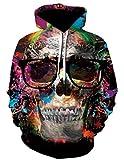 HPENYYOSY Felpe 3D Blue Flame Skull Felpe con Cappuccio Sciolto con Cappuccio Cappotto Invernale Streetwear Giacche con Cappuccio 6 M