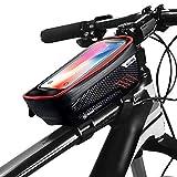 Borsa da Mountain Bike Antipioggia Impermeabile MTB Anteriore Borsa da 6,2 Pollici Custodia per Cellulare Borsa da Bicicletta Tubo Superiore Accessori da Ciclismo,Red