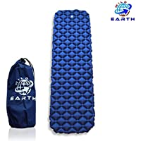Wild Earth Navy Blue Lightweight Single, Inflatable Camping Roll Mat, Sleeping Pad, Bed or Travel Mattress. Adult Size with Air Support for a Great Nights Sleep. Compact, Strong and Easy to Inflate. For Hiking, Walking, Backpacking, Trekking and Wild Camping.