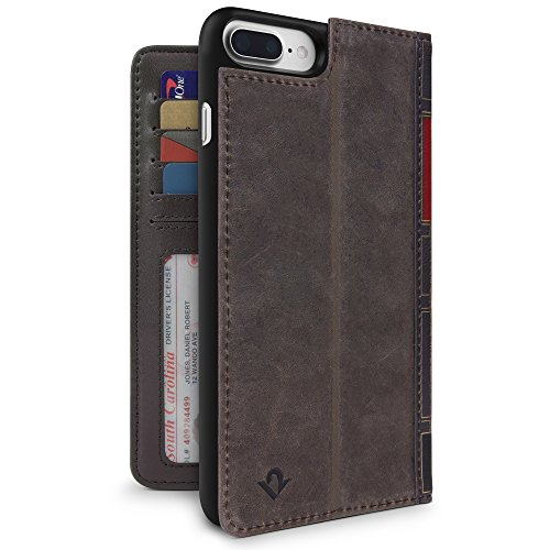 Twelve South BookBook für iPhone 8 Plus/7 Plus/6 Plus , 3-in-1-Lederhülle, Display-Ständer und abnehmbare Hülle (Braun) Folio Wallet Leather Case
