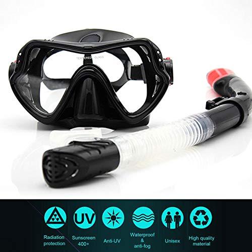 fengwen66 Máscara de Buceo para Snorkeling Profesional Snorkel Scuba antivaho Gafas para niños Negro