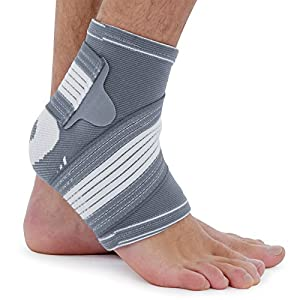 Bionix 3D Knitted Compression Ankle Support Brace With Foot Straps with Elastic Wrap - Excellent for Sports Injuries, Strains, Sprains, Running, Achilles Tendonitis, Weak or Arthritic Ankle, Foot Pain - Unisex