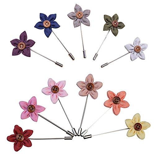 Soleebee YM003 Ansteckblumen Gemischt zufällig Herren Handgefertigt Revers Pin Blume Set im Knopfloch Schläger Revers Krawatte Brosche Blume Boutonniere für Anzug Hochzeit Partei (6 Stück)