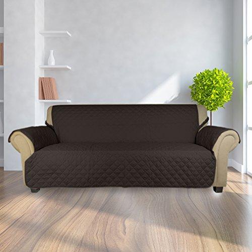 Kinlo copripoltrona 3-posti fodera per divano 167 x 165 cm copridivano imbottito copertura trapuntato per gli animali domestici protezione anti-graffio antifouling - marrone