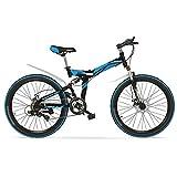 Faltrad 24/26 Zoll Mountainbike können Schock Speed Bike sperren ( Farbe : Black blue , größe : 24 inches )