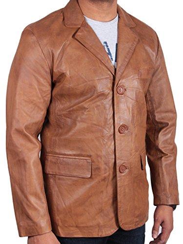 Brandslock homme blouson veste motard blazer en cuir d'origine manteaux vintage italienne bronzer