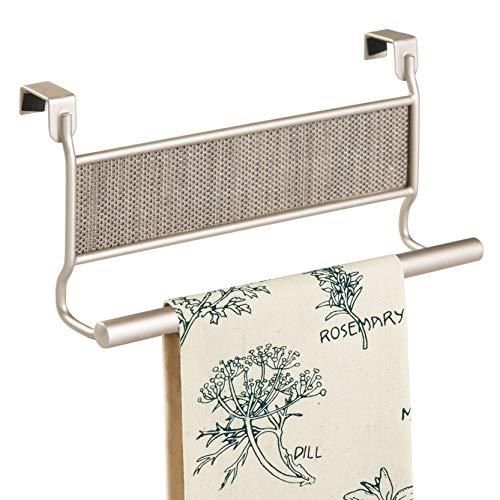 InterDesign Twillo Handtuchhalter für die Tür | Bad Handtuchstange mit Akzenten aus Kunststoffgeflecht | Geschirrtuchhalter ohne Bohren | Metall champagnerfarben