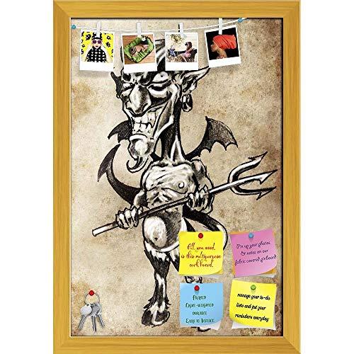 Artzfolio Tattoo Art Printed Bulletin Board Notice Pin Board | Golden Frame 16 X 23.5Inch