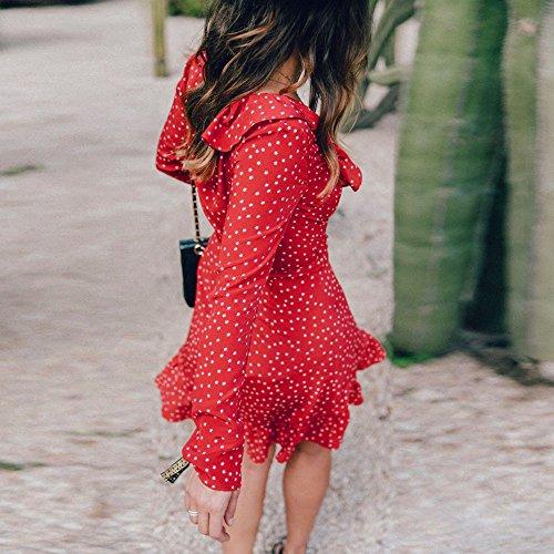 Donne Estate V Collo Vestito Mini,Kword Abito Da Festa In Spiaggia, Maniche Lunghe Vintage Volant Abito Cardigan Rosso